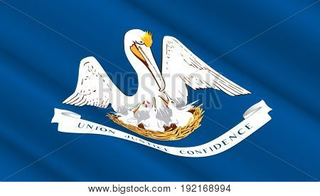 Waving flag of Louisiana state. 3D illustration.