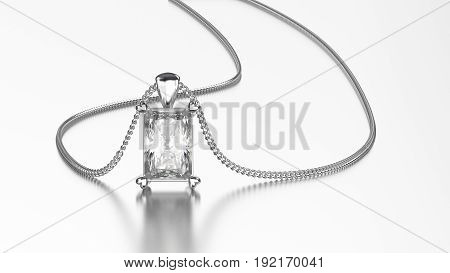 3D illustration white gold or silver diamond necklace on chain with reflection on a grey background