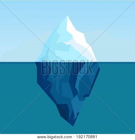 Ocean iceberg antarctic landscape vector background. Iceberg in cold water ocean or sea illustration