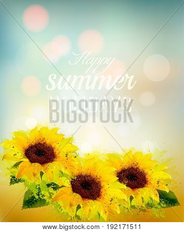 Nature background with yellow sunflowers. Vector illustration