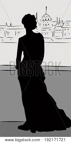 Silhouette of legant woman wearing dress standing back on a bridge and looking at the city panorama, vector illustration in sketch style