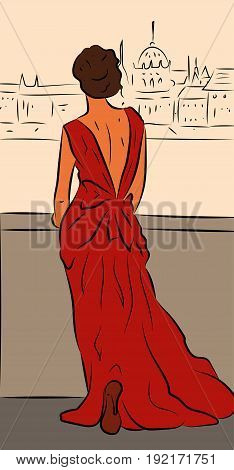 Elegant woman wearing red dress standing back on a bridge and looking at the city panorama, vector illustration in sketch style