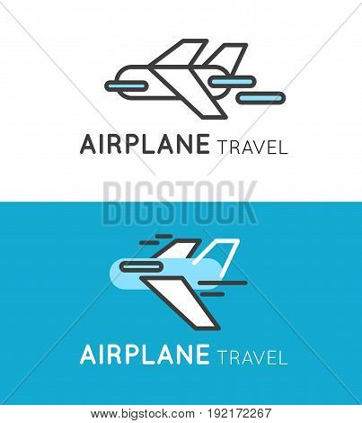 Travel airplane logo in modern style. Airport or travel company icon.
