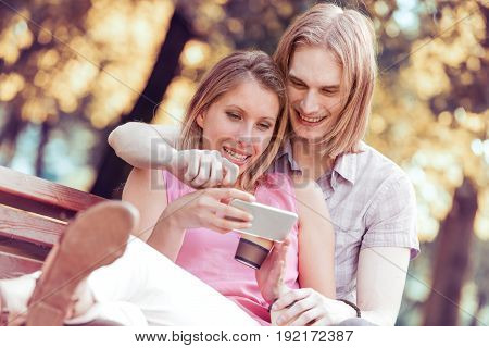 Couple in love taking selfie.sSummer holidaystechnologyloveand dating concept.