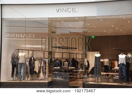 KING OF PRUSSIA, PA - MAY 6: Vince store at King of Prussia Mall in Pennsylvania, as seen on May 6, 2017. It is the largest shopping mall in the United States of America in terms of leasable retail space.