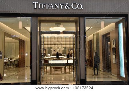 KING OF PRUSSIA, PA - MAY 6: Tiffany & Co store at King of Prussia Mall in Pennsylvania, as seen on May 6, 2017. It is the largest shopping mall in the United States of America in terms of leasable retail space.