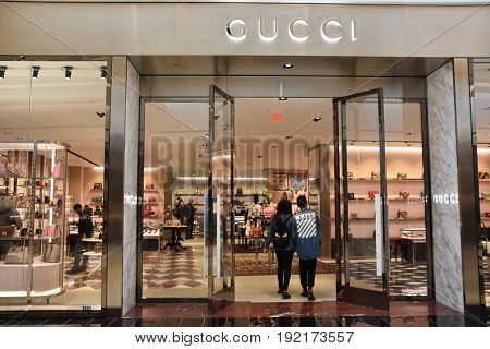 KING OF PRUSSIA, PA - MAY 6: Gucci store at King of Prussia Mall in Pennsylvania, as seen on May 6, 2017. It is the largest shopping mall in the United States of America in terms of leasable retail space.