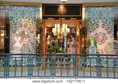 KING OF PRUSSIA, PA - MAY 6: Tory Burch store at King of Prussia Mall in Pennsylvania, as seen on May 6, 2017. It is the largest shopping mall in the United States of America in terms of leasable retail space.