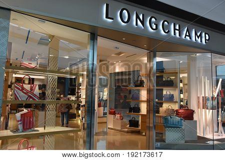 KING OF PRUSSIA, PA - MAY 6: Longchamp store at King of Prussia Mall in Pennsylvania, as seen on May 6, 2017. It is the largest shopping mall in the United States of America in terms of leasable retail space.