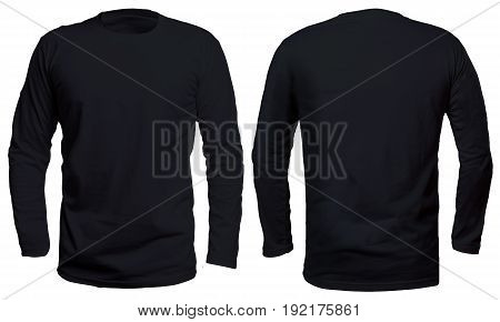Blank long sleve shirt mock up template front and back view isolated on white plain black t-shirt mockup. Long sleeved tee design presentation for print.