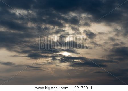 sky with clouds at dawn sun . A photo