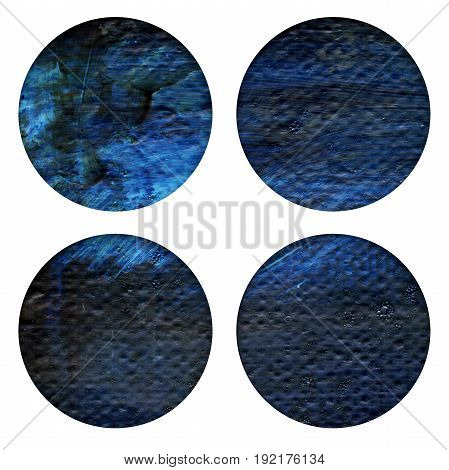 Abstract hand painted acrylic circles texture in blue and black colors. Round design element isolated on white background. Detail or closeup brush stroke pattern.