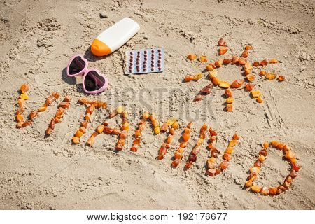 Medical Pills, Inscription Vitamin D And Accessories For Sunbathing At Beach, Prevention Of Vitamin