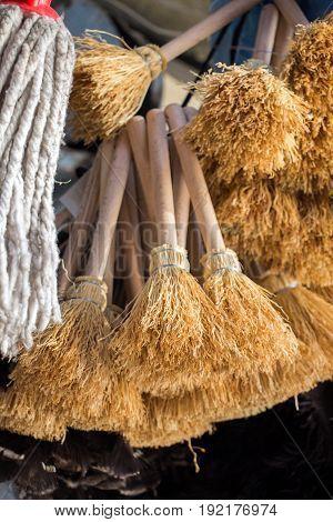 Set Of Yellow Straw Broom In Bazaar