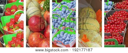 Panoramic set of healthy nutritious fresh fruit and berries food banner