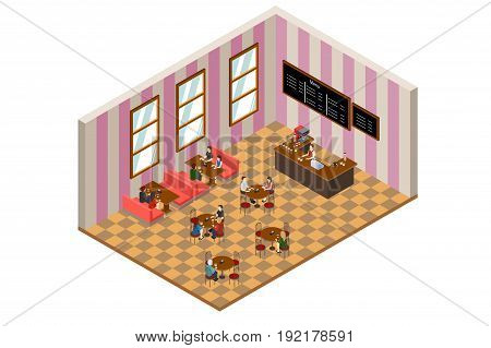 A vector illustration of Isometric Design of a Cafe or Restaurant