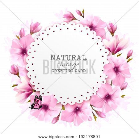 Natural greeting card with pink flowers and butterfly. Vector.