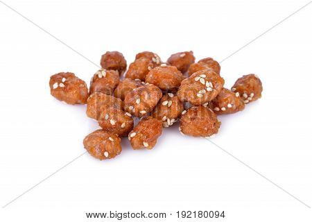 coated peanut with white sesame on white background