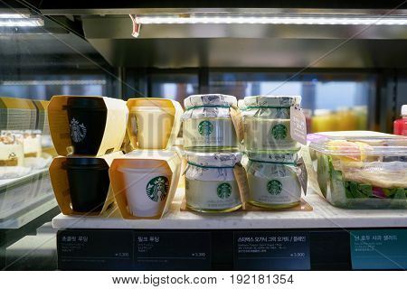SEOUL, SOUTH KOREA - CIRCA JUNE, 2017: close up shot of food at Starbucks in Seoul. Starbucks Corporation is an American coffee company and coffeehouse chain.