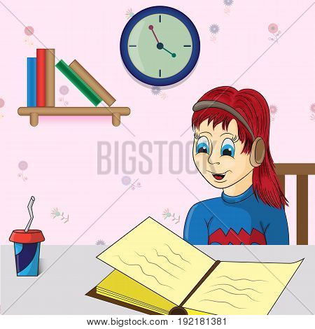 Vector illustration of a girl who reads a book