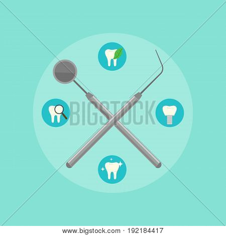 Dental instruments crosswise on blue background with round teeth icons. Dentistry isolated vector illustration. Medical professional equipment. Healthcare and tooth care concept. Dental hygiene