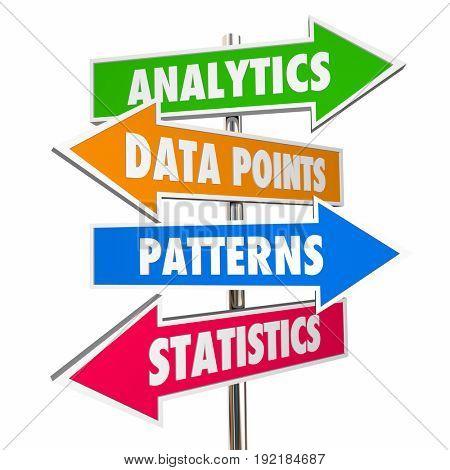 Analytics Data Points Patterns Statistics Signs, 3d Illustration