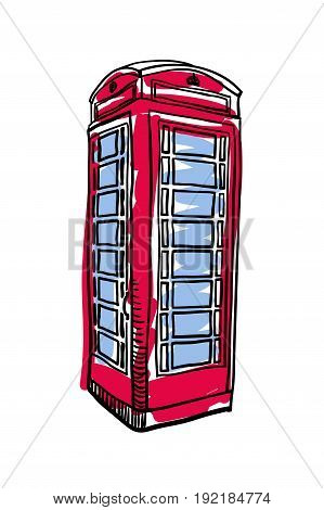 London red phone booth hand drawn isolated icon. English culture element, patriotic vector illustration.