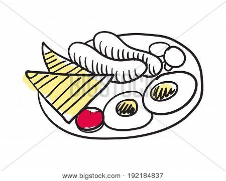 English breakfast hand drawn isolated icon. Great Britain culture element, patriotic vector illustration.