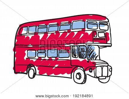 British red bus hand drawn isolated icon. English culture element, patriotic vector illustration.