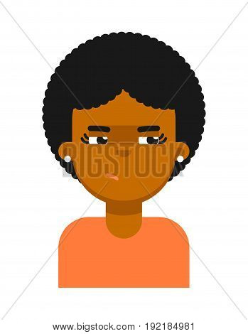 Insidious facial expression of black girl avatar. Young african woman face, people emoticon icon, emoji vector illustrations isolated on white background.