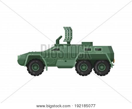 Modern armored vehicle isolated icon. Military technics object, army force heavy equipment, armored corps machinery vector illustration in flat design.