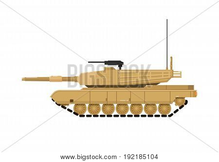 Modern combat tank isolated icon. Military technics object, army force heavy equipment, armored corps machinery vector illustration in flat design.