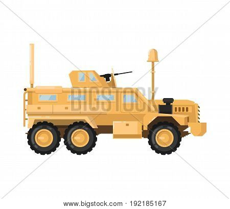 Modern combat machine isolated icon. Military technics object, force heavy equipment, armored corps machinery vector illustration in flat design.