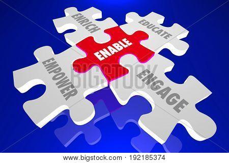 Enable Empower Enrich Educate Engage Puzzle, 3d Illustration
