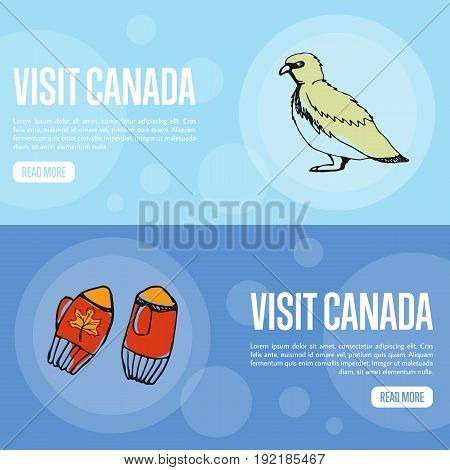 Visit Canada horizontal banners. Knitted mittens and rock ptarmigan hand drawn vector illustrations.