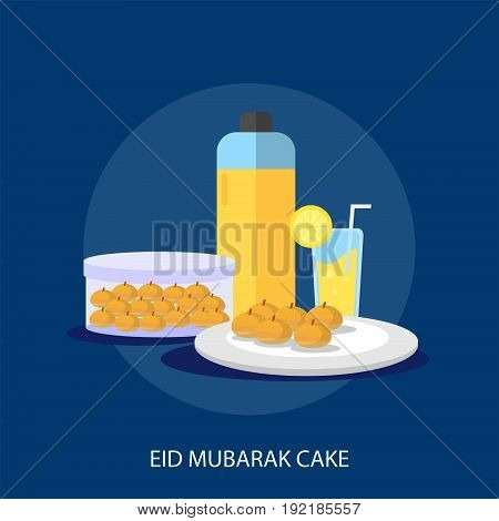 Eid Mubarak Cake Conceptual Design | Set of great flat design illustration concepts for religion, ramadan, islamic and much more.