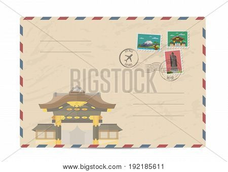 Japan vintage postal envelope with postage stamps and postmarks on white background, isolated vector illustration. Japanese ancient temple. Air mail stamp. Postal services. Envelope delivery.