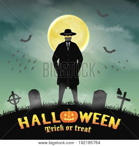 halloween invisible man in a night graveyard