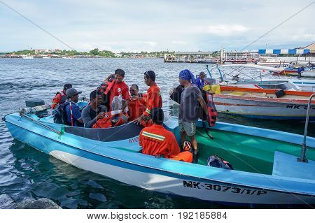 Labuan, Malaysia-June 15,2017:Offshore workers on transport boat,ready to platform supply vessel (PSV) offshore support vessel at sea of Labuan,Malaysia.