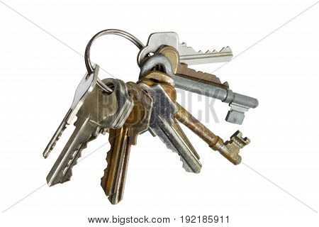 Bunch of Keys on Isolated  White Background