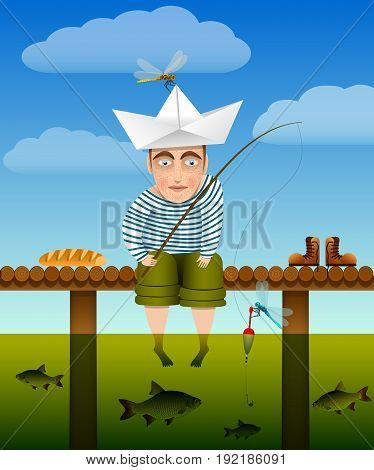 Summer fishing. Youth fisherman sits on a wooden bridge, his legs dangling into the water, and fishing. Bright warm colors. Funny story. Vector illustration