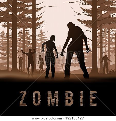 Zombie Walking out From Forest. Silhouettes Illustration for Halloween Poster