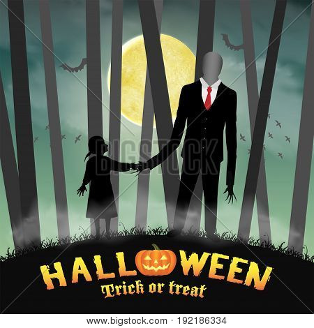 halloween slender tall man with girl in forest