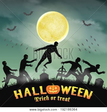 halloween human escape from zombie in graveyard