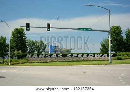 KANSAS CITY KS USA - May 31 2017: The Kansas Speedway is a NASCAR track located in the Kansas City metropolitan area. The 1.5 mile oval track and stands opened in 2001.