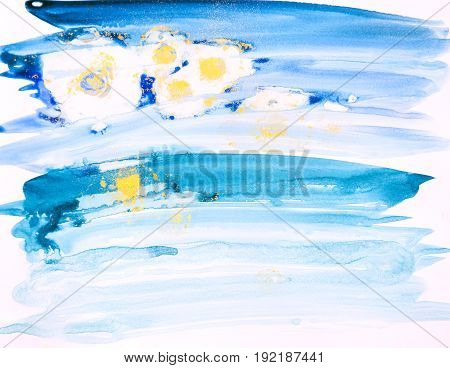 Watercolor Background Painting On White Paper. Blue, Green And Golden Abstract Texture. Color Smudge