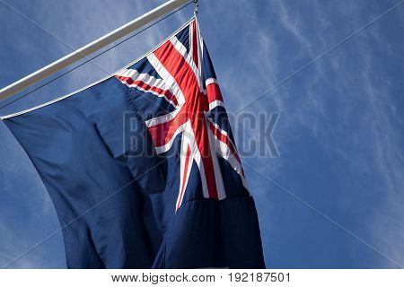 union jack flags in the wind