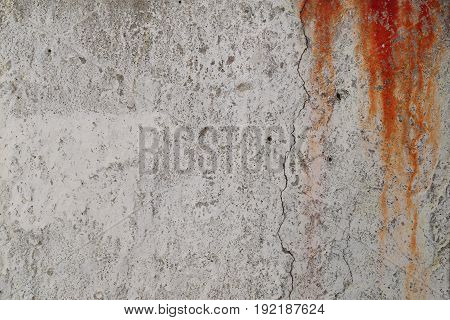 Rusty gray concrete wall with red blood drops small holes and crack. Illustration background for criminal news and chronicles.