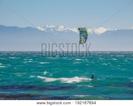 Kite surfer in action on a windy day