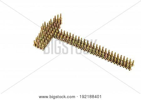 A Hammer Contour Drawing With Yellow Avarage Galvanized Screws Isolated On White Background